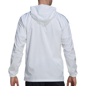 Chaqueta adidas Real Madrid Presentación - Chaqueta con capucha de presentación para entrenadores adidas Real Madrid CF - blanca - trasera