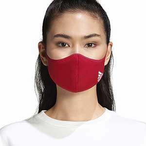 Mascarillas adidas Face Mask talla M/L pack 3 - Pack de 3 mascarillas faciales deportivas reutilizables adidas - rojas - detalle modelo