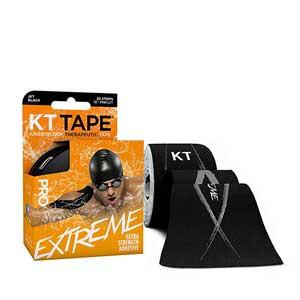 Cinta kinesiológica KT Tape Pro Extreme precortada - Tira muscular kinesiológica KT Tape (5 cm x 5 m) - negra - trasera