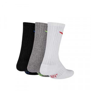 Pack calcetines media caña Nike Cushion Crew niño - Pack de 3 calcetines Nike Cushion Crew media caña - blanco, gris y negro - trasera