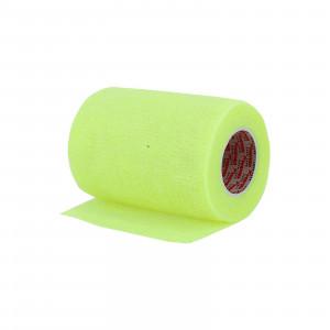 Vendaje Prowrap Premier Sock 7,5cm x 4,5m - Esparadrapo sujeta espinilleras Prowrap (7,5 cm x 4,5 m) - amarillo flúor - trasera