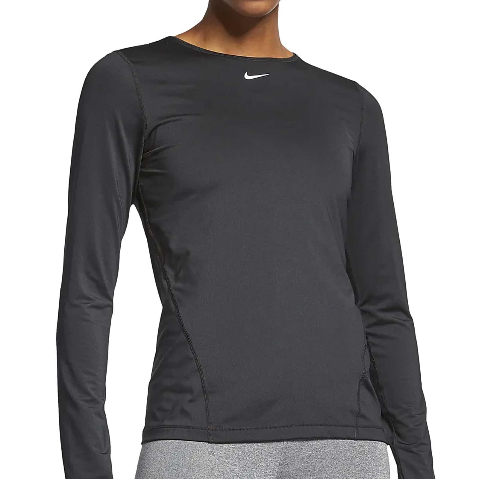 Subordinar máquina de coser crimen  Camiseta manga larga mujer Nike Pro negra | futbolmania