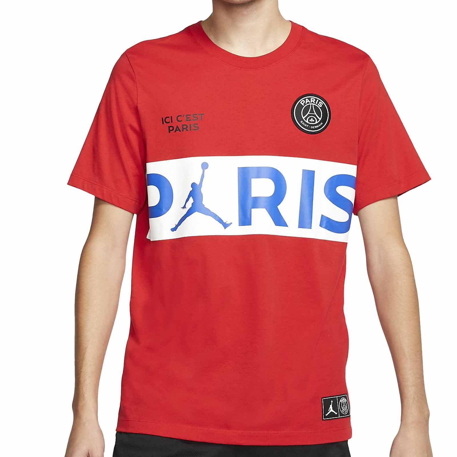 Rebelión pirámide voz  Camiseta algodón Nike PSG x Jordan roja | futbolmania