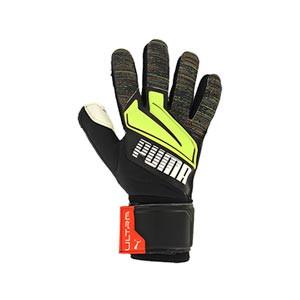 Puma Ultra Grip 1 RC - Guantes de portero Puma corte Regular Cut - negros y amarillos - frontal derecho