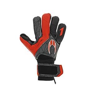 HO Soccer One - Guantes de portero HO Soccer corte Flat - negros y rojos - frontal