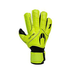 HO Soccer One Protek - Guantes de portero con protecciones HO Soccer corte Flat - amarillo flúor - frontal
