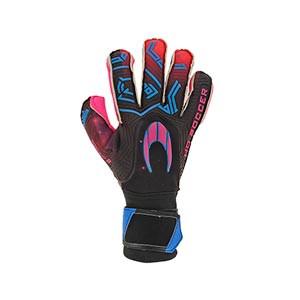 HO Soccer Eskudo 2 Roll/Negative - Guantes de portero HO Soccer corte Roll/Negative - negros y rosas - completa dorso mano derecha