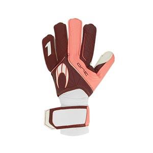 HO Soccer One Flat - Guantes de portero HO Soccer corte Flat - granates y blancos - completa dorso mano derecha