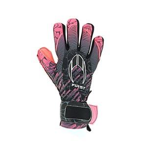 HO Soccer First Superlight - Guantes de portero HO Soccer corte Negative - rosas y negros - completa dorso mano derecha