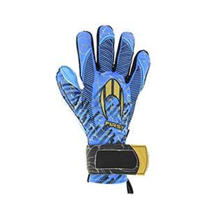 HO Soccer First Superlight - Guantes de portero HO Soccer corte Negative - azules celeste - completa dorso mano derecha
