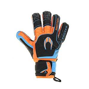 HO Soccer Primary Protek Flat - Guantes de portero con protecciones HO Soccer corte Flat - negros y naranjas - frontal