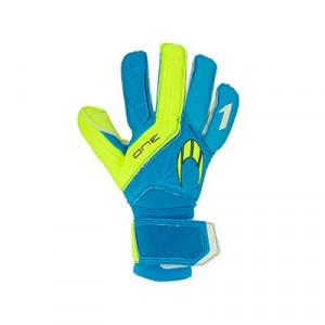 HO Soccer One - Guantes de portero HO Soccer corte Negative - azules cian, amarillos flúor