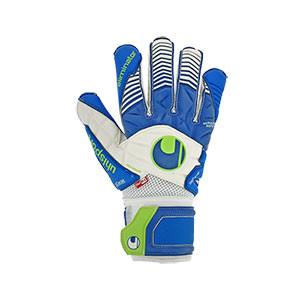 Uhlsport Aquasoft Outdry - Guantes de portero impermeable para agua Uhlsport - azules y blancos - frontal derecho