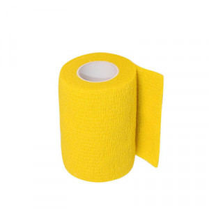 Uhlsport Tube It Tape 7,5 cm - Esparadrapo sujeta espinilleras Uhlsport (7,5 cm x 4 m) - amarillo - frontal