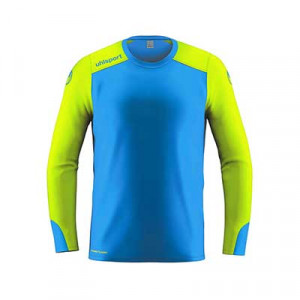 Camiseta portero Uhlsport niño Tower GK - Camiseta de manga larga infantil de portero Uhlsport - azul celeste y amarillo flúor - frontal