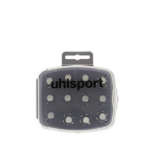 Tacos Uhlsport Aluminio 13/16 mm - 12 uds (8x13 mm y 4x16 mm) de tacos de aluminio de repuesto para botas Nike, Puma, New Balance,... - frontal