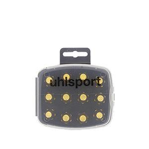 Tacos Uhlsport Aluminio 13/16 mm - 12 uds (8x13 mm y 4x16 mm) de tacos de aluminio de repuesto para botas Nike, Puma, New Balance,... - dorados - frontal