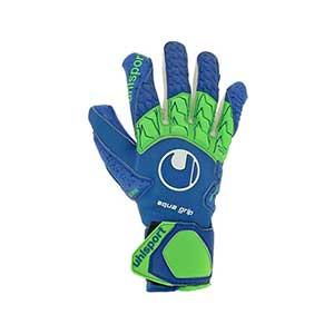 Uhlsport Aquagrip HN - Guantes de portero profesionales para agua Uhlsport corte Half Negative - azules y verdes - frontal izquierdo