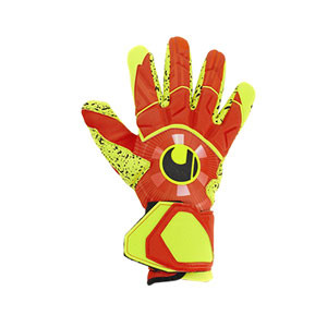 Uhlsport Dynamic Impulse Supergrip Finger Surround - Guantes de portero profesionales Uhlsport corte Finger Surround - naranjas y amarillos