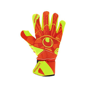 Uhlsport Dynamic Impulse Absolutgrip Finger Surround - Guantes de portero Uhlsport corte Finger Surround - naranjas y amarillos - frontal derecho