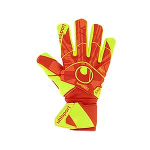 Uhlsport Dynamic Impulse SuperSoft HN - Guantes de portero Uhlsport corte Half Negative - naranjas y amarillos - frontal derecho