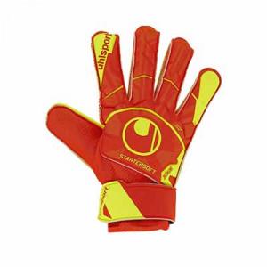 Uhlsport Dynamic Impulse Starter Soft - Guantes de portero para niño Uhlsport corte clásico - naranjas y amarillos - frontal derecho