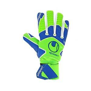 Uhlsport AquaSoft HN - Guantes de portero para agua Uhlsport corte Half Negative - verdes y azules - frontal derecho