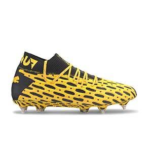 Puma Future 5.1 MxSG - Botas fútbol Puma MxSG césped natural húmedo - amarillas y negras - pie derecho