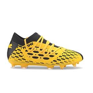 Puma Future 5.3 FG/AG Jr - Botas fútbol infantiles Puma FG/AG césped natural o artificial - amarillas y negras - pie derecho