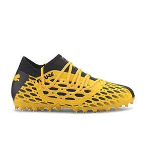 Puma Future 5.3 MG Jr - Botas fútbol infantiles Puma MG para césped artificial - amarillas y negras - pie derecho