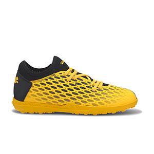 Puma Future 5.4 TT Jr - Zapatillas multitaco infantiles Puma TT suela turf - amarillas y negras - pie derecho