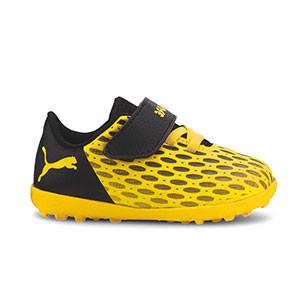 Puma Future 5.4 TT velcro Jr - Zapatillas multitaco infantiles con velcro Puma TT suela turf - amarillas y negras - pie derecho