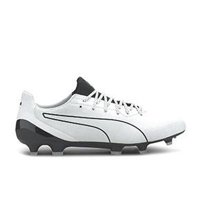 Puma King Platinum Lazertouch - Botas de fútbol de piel canguro Puma FG/AG césped natural o artificial - blancas - pie derecho