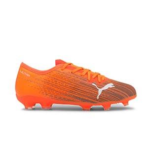 Puma Ultra 2.1 FG/AG Jr - Botas de fútbol infantiles Puma FG/AG para césped natural y artificial - naranjas - pie derecho