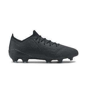 Puma Ultra 1.1 Leather FG/AG - Botas de fútbol de piel de canguro Puma FG/AG para césped natural y artificial - negras - pie derecho