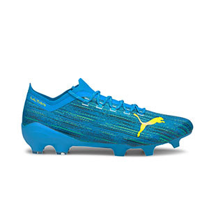 Puma Ultra 1.2 FG/AG - Botas de fútbol Puma FG/AG para césped natural y artificial - azules - pie derecho