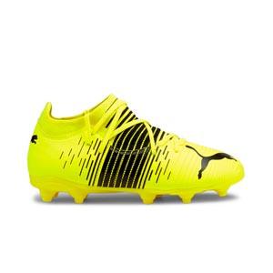 Puma Future Z 3.1 FG/AG Jr - Botas fútbol infantiles Puma FG/AG césped natural o artificial - amarillas flúor - pie derecho