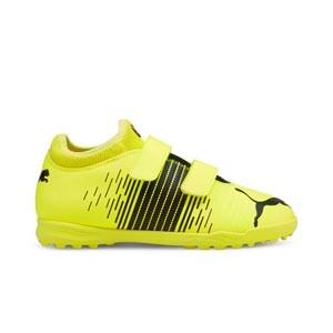 Puma Future Z 4.1 TT V Jr - Zapatillas multitaco infantiles con velcro Puma TT suela turf - amarillas flúor - pie derecho