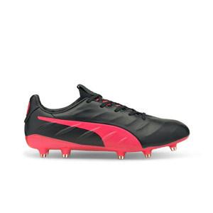Puma King Platinum 21 FG/AG - Botas de fútbol de piel de canguro Puma FG/AG para césped natural y artificial - negras y rojas
