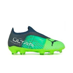 Puma Ultra 3.3 FG/AG Jr - Botas de fútbol infantiles Puma FG/AG para césped natural o artificial - verdes, azules