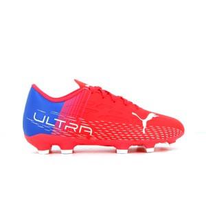Puma Ultra 4.3 FG/AG Jr - Botas de fútbol infantiles con tobillera adidas FG para césped natural o artificial de última generación - rojas