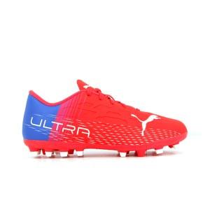 Puma Ultra 4.3 MG Jr - Botas de fútbol infantiles con tobillera adidas MG para césped artificial - rojas