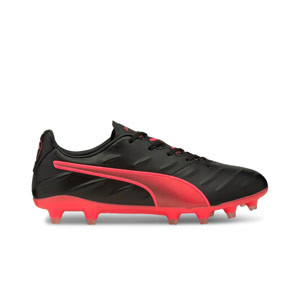 Puma King Pro 21 FG - Botas de fútbol de piel de canguro Puma FG para césped natural y artificial de última generación - negras y rojas