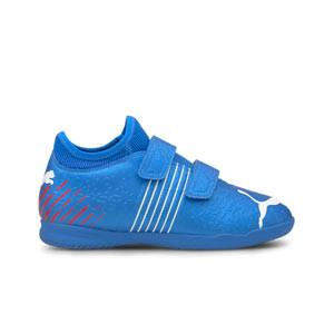 Puma Future Z 4.2 IT V Jr - Zapatillas de fútbol sala infantiles con velcro Puma IT suela lisa - azules