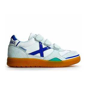 Munich Gresca Kid 604 velcro - Zapatillas de fútbol sala con velcro para niño Munich suela lisa - Blanco / Azul - pie derecho