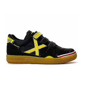 Munich Gresca Kid 606 velcro - Zapatillas de fútbol sala con velcro para niño Munich suela lisa - Negro / Amarillo - pie derecho