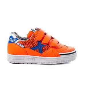 Munich G3 Kid Indoor velcro - Zapatillas con velcro infantiles de fútbol sala Munich suela lisa - naranjas y azules - pie derecho