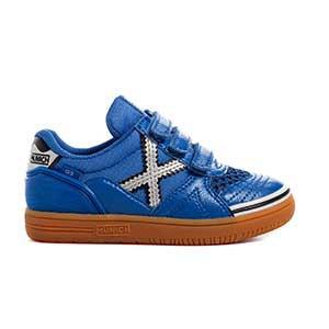 Munich G3 Kid Indoor velcro - Zapatillas con velcro infantiles de fútbol sala Munich suela lisa - azules y plateadas - pie derecho