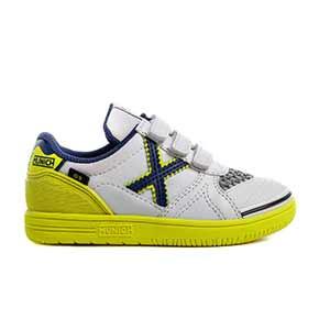 Munich G3 Kid Indoor velcro - Zapatillas con velcro infantiles de fútbol sala Munich suela lisa - blancas y amarillas - pie derecho