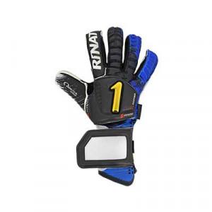 Rinat Egotiko Elemental Spine Pro - Guantes de portero profesionales con protecciones extraíbles Rinat - negro y azul - frontal derecho